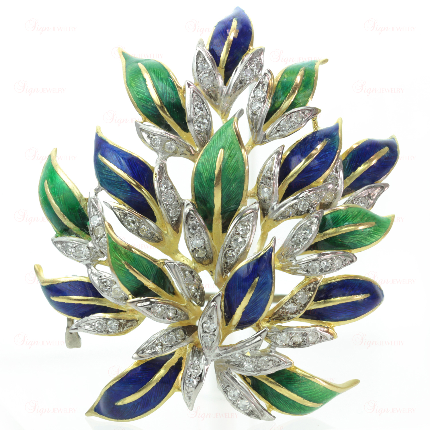 Vintage 18k Gold Blue & Green Enamel Diamond Floral Cluster Brooch