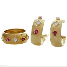 CARTIER Diamond Ruby 18k Yellow Gold Ring & Earrings