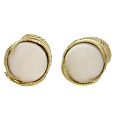 White Coral Textured 14k Yellow Gold Clip-on Earrings