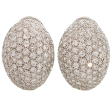 Modern 6 Carat Pave Diamond White Gold Oval Earrings