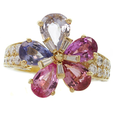 BVLGARI 18k Yellow Gold Fancy Sapphires Diamond Flower Collection Ring