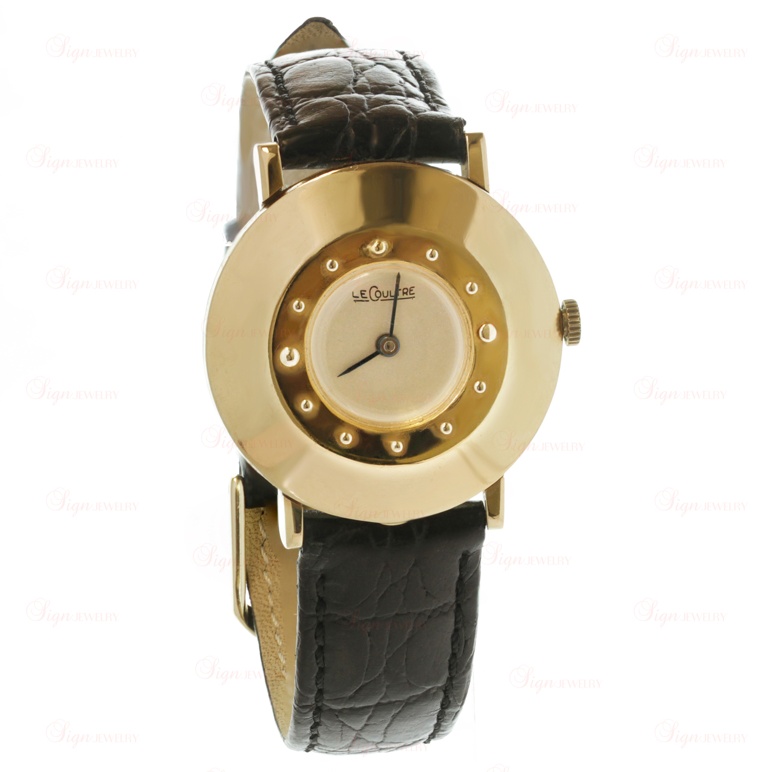 LE COULTRE Retro 1940s 14k Yellow Gold Unisex Watch