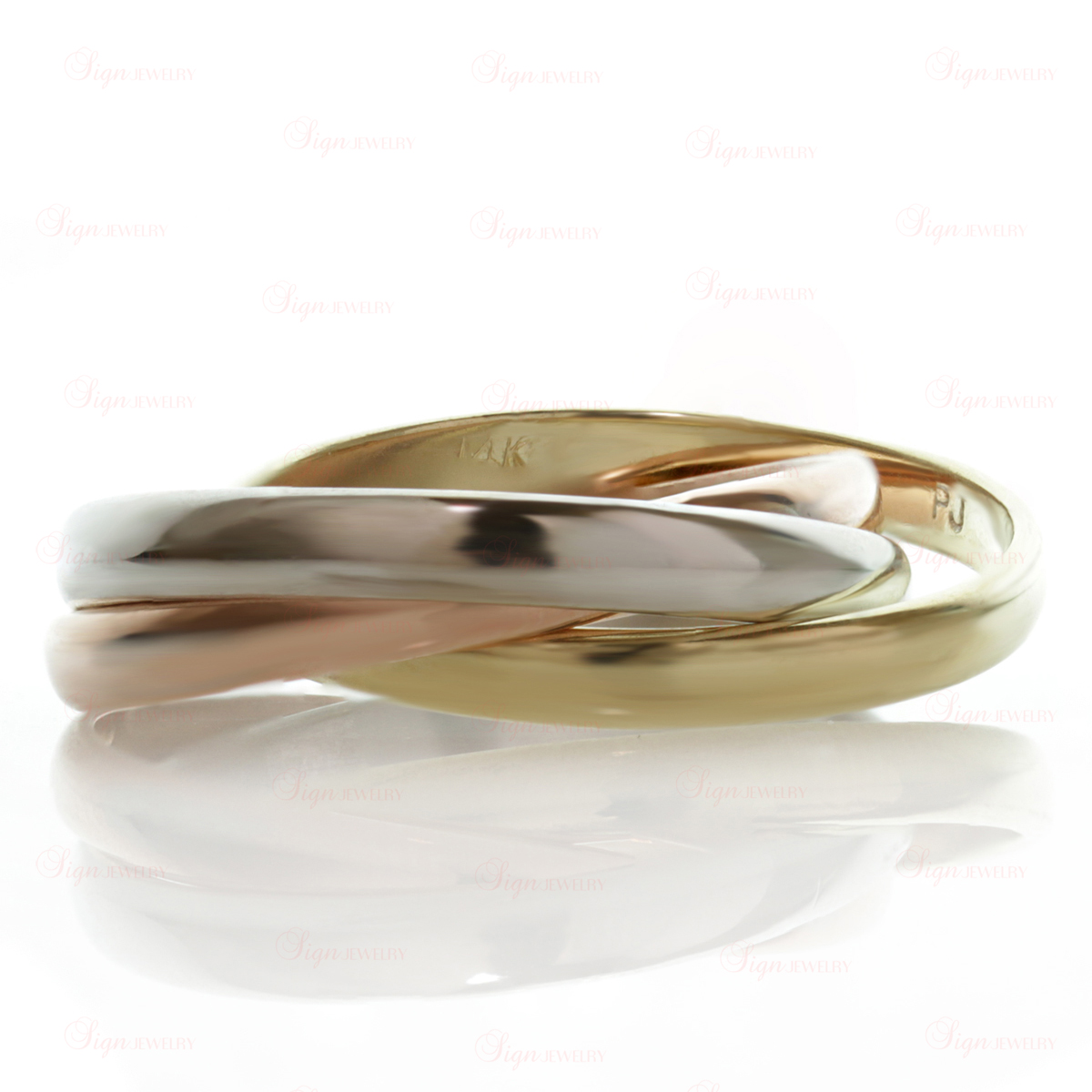 3-Band 14k Tri-Gold Rolling Ring Size 61