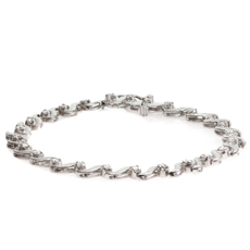 Solitaire Diamond 14k White Gold Link Tennis Bracelet