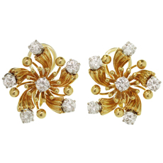 TIFFANY & CO. Schlumberger 18k Yellow Gold Diamond Flower Earrings