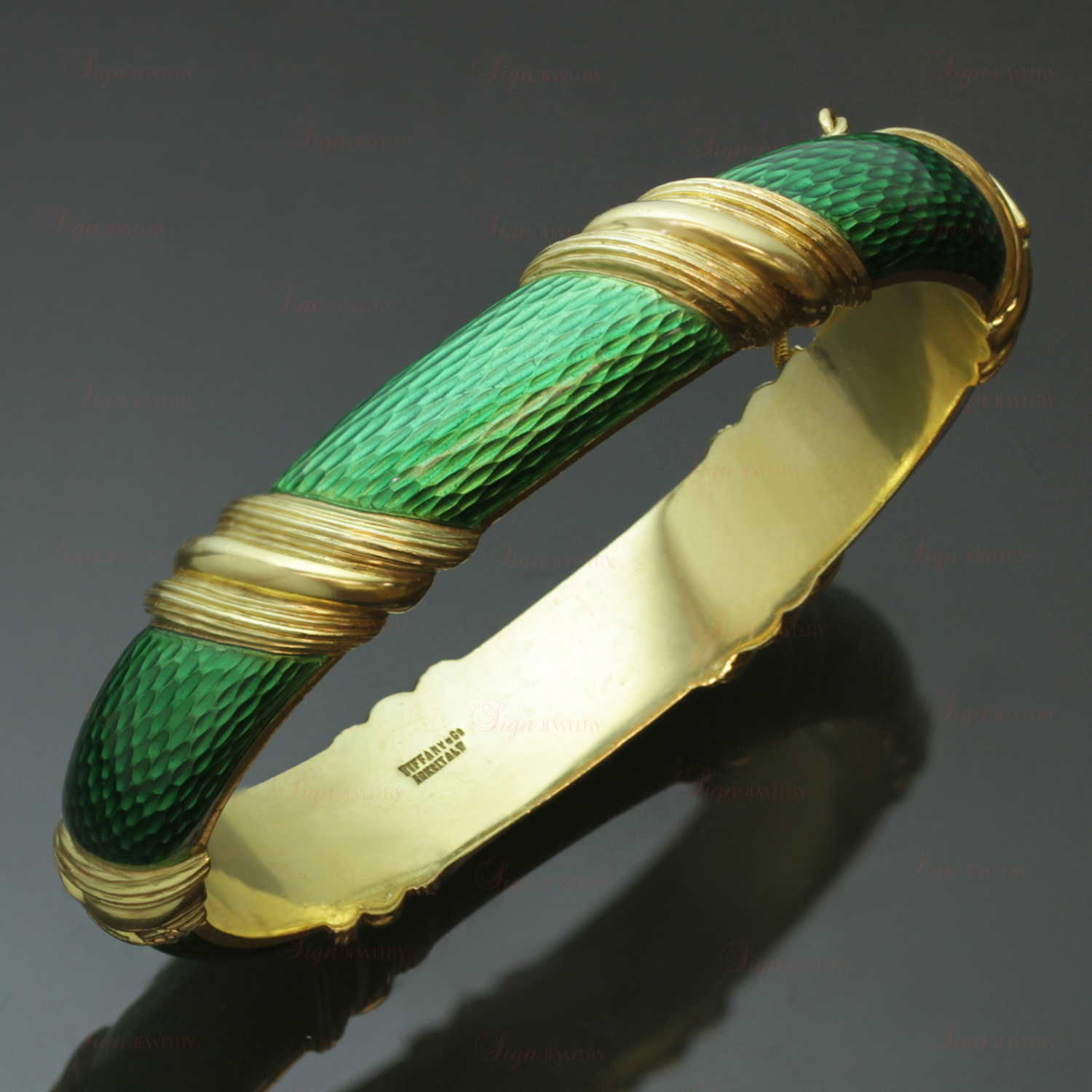 TIFFANY & CO. 18k Yellow Gold Green Enamel Striped Bangle Bracelet
