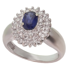 Diamond Blue Sapphire 14k White Gold Ring