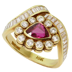 18k Yellow Gold Diamond Ruby Triangle Ring