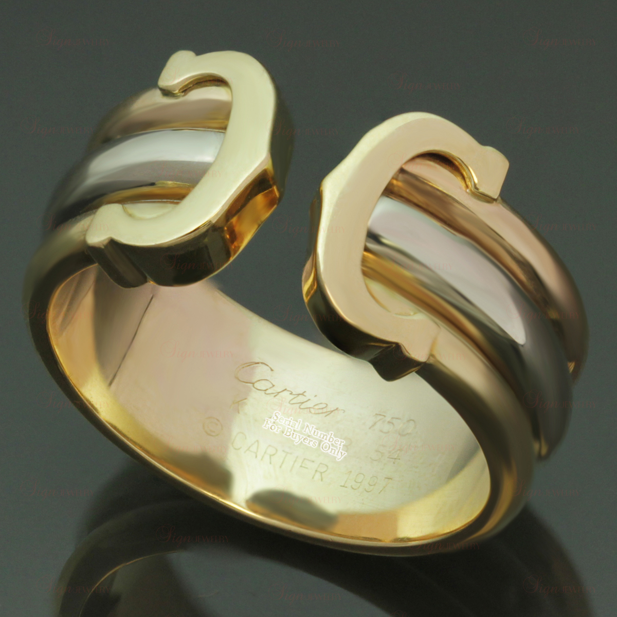 CARTIER Double C Decor 18k Tri Gold Open Band Ring