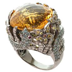 Fancy Multicolor Diamond Citrine 14k White Gold Large Cocktail Ring