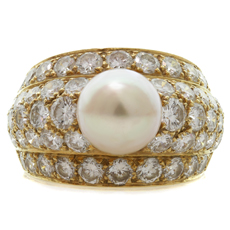 CARTIER London 18k Yellow Gold Diamond Pearl Dome Size 53 Ring
