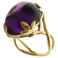 TIFFANY & CO. Paloma Picasso 18k Yellow Gold Olive Leaf Amethyst Ring