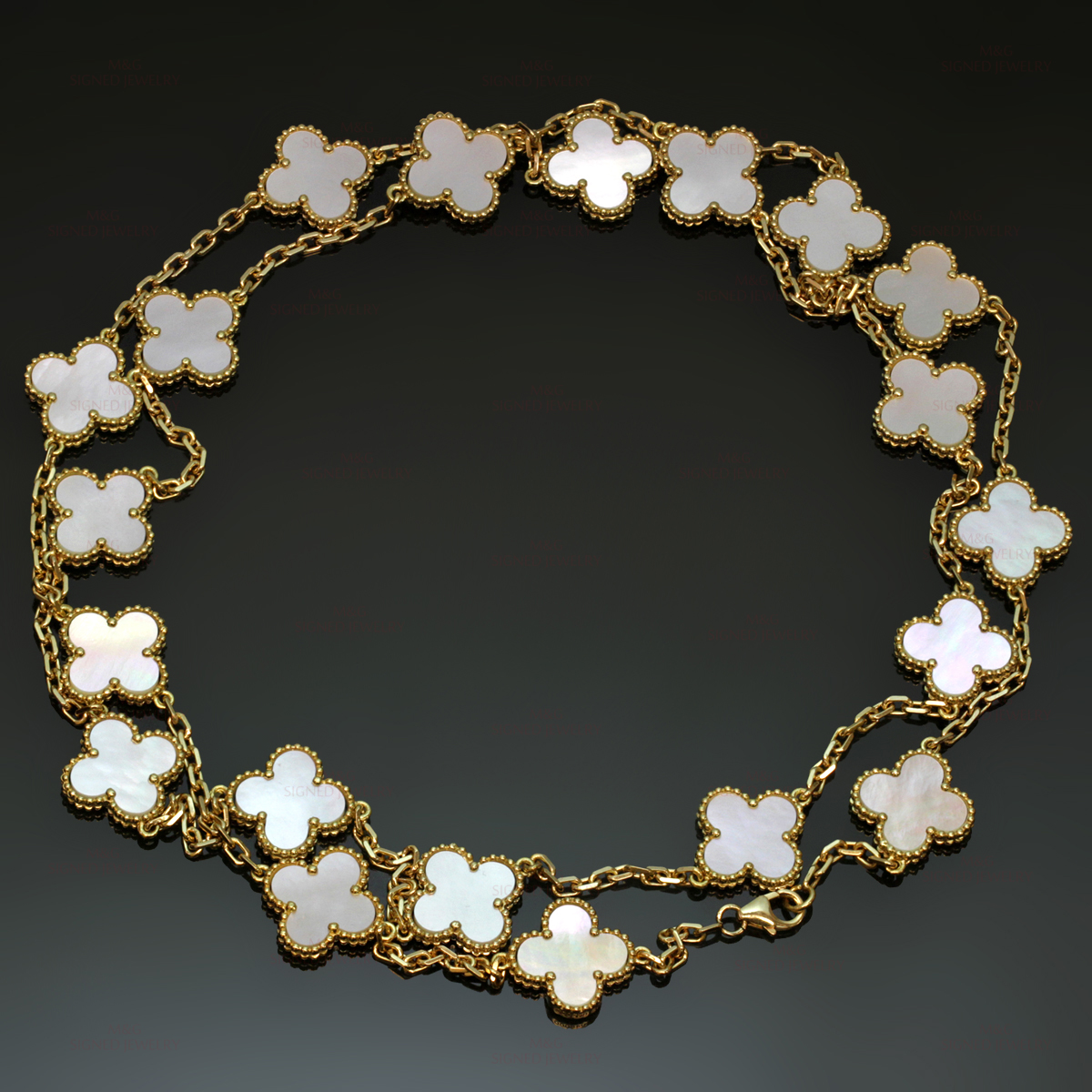 VAN CLEEF & ARPELS Vintage Alhambra Yellow Gold Mother-of-Pearl Charm Necklace