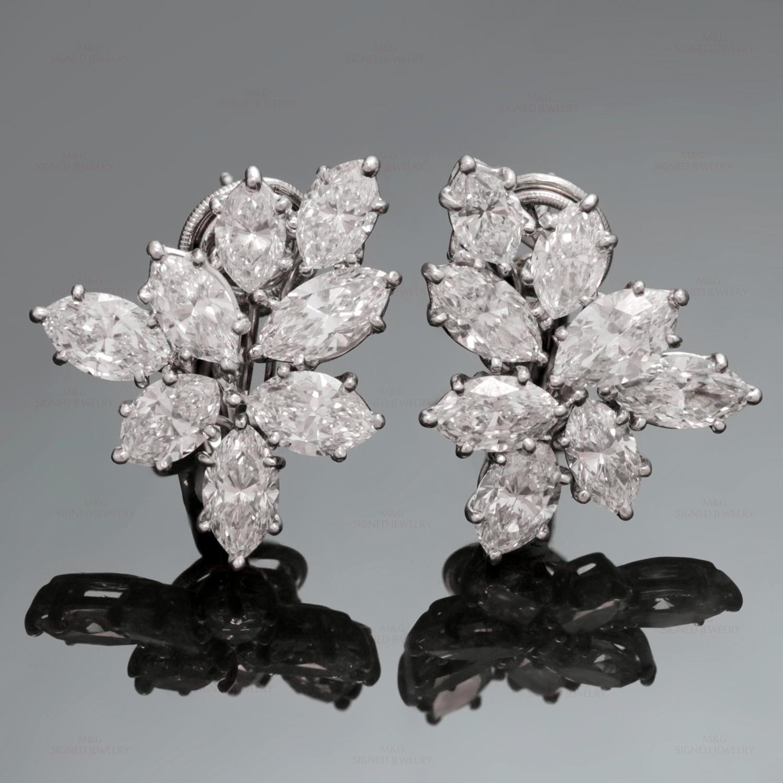 HARRY WINSTON Platinum Diamond Cluster Earrings
