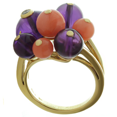 CARTIER Les Delices de Goa Diamond Amethyst Coral Bead 18k Yellow Gold Ring