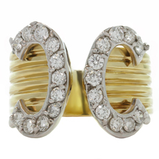 Diamond 14k Yellow Gold C-Motif Open Band Ring