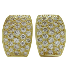 Italian Diamond 18k Yellow Gold Earrings