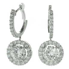 Diamond 18k White Gold Round Drop Earrings