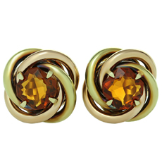 CARTIER Love-Knot Citrine 18k Rose & Yellow Gold Earrings