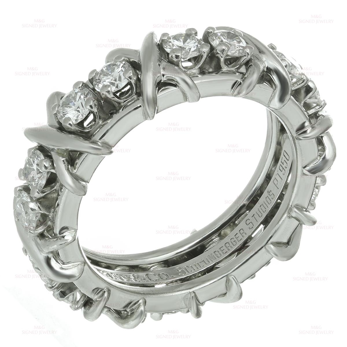 6f1449b60 TIFFANY & CO. Jean Schlumberger 16-Stone Diamond Platinum X Band Ring
