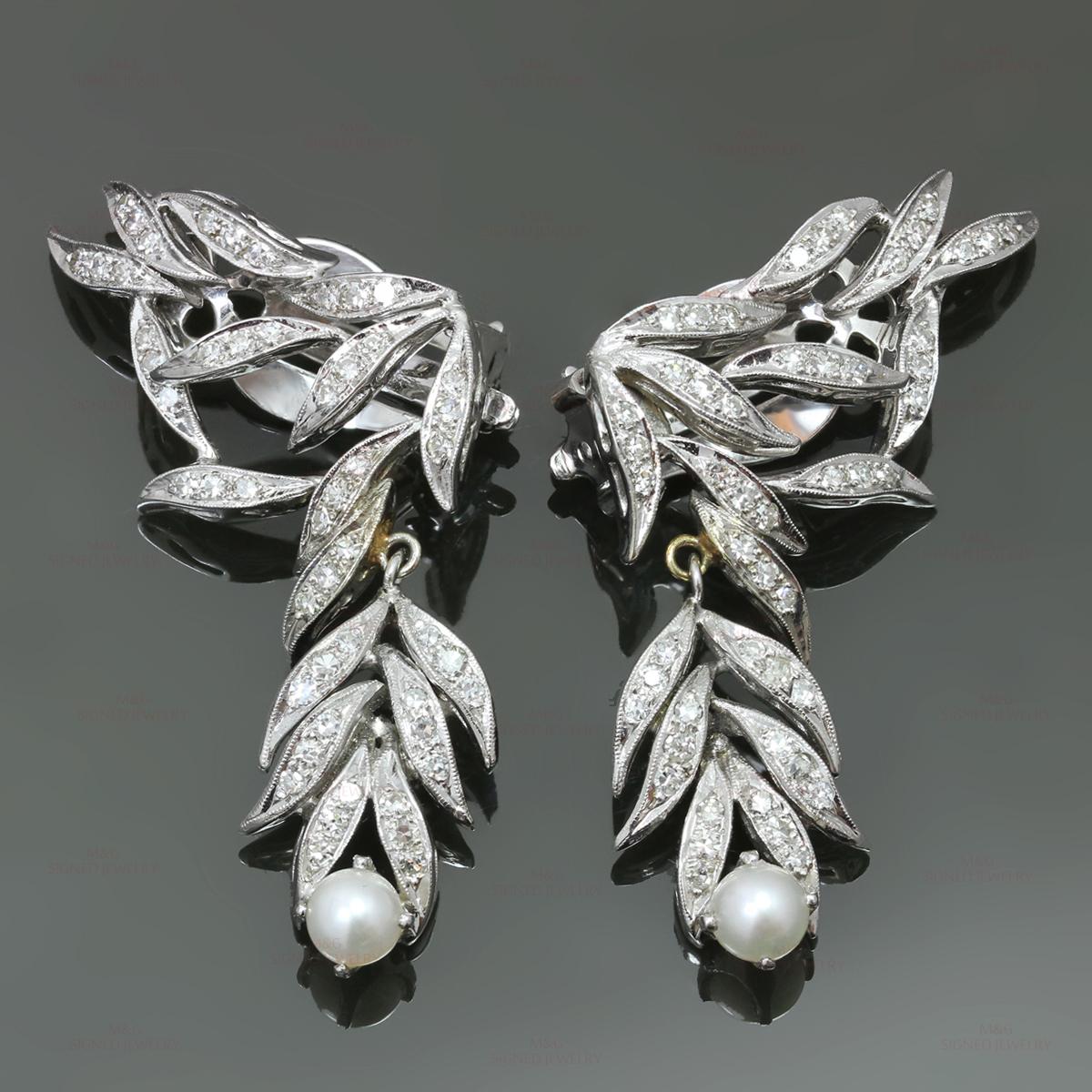 Vintage Diamond Pearl 14k White Gold Clip On Dangling Earrings