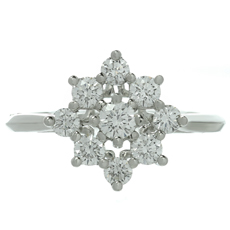 TIFFANY & CO. Diamond Flower Platinum Ring