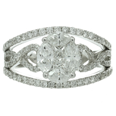 Mosaic Diamond 18k White Gold Ring