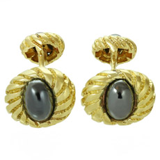 TIFFANY & CO. Hematite 18k Yellow Gold Cufflinks