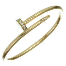 CARTIER Juste Un Clou Diamond 18k Rose Gold Nail Bangle Bracelet