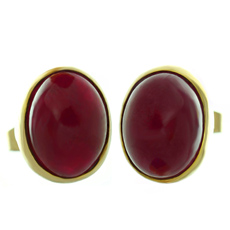 Bullet-Cut Cabochon Ruby 18k Yellow Gold Stud Earrings