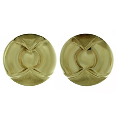 Italian 14k Yellow Gold Geometric Round Button Earrings