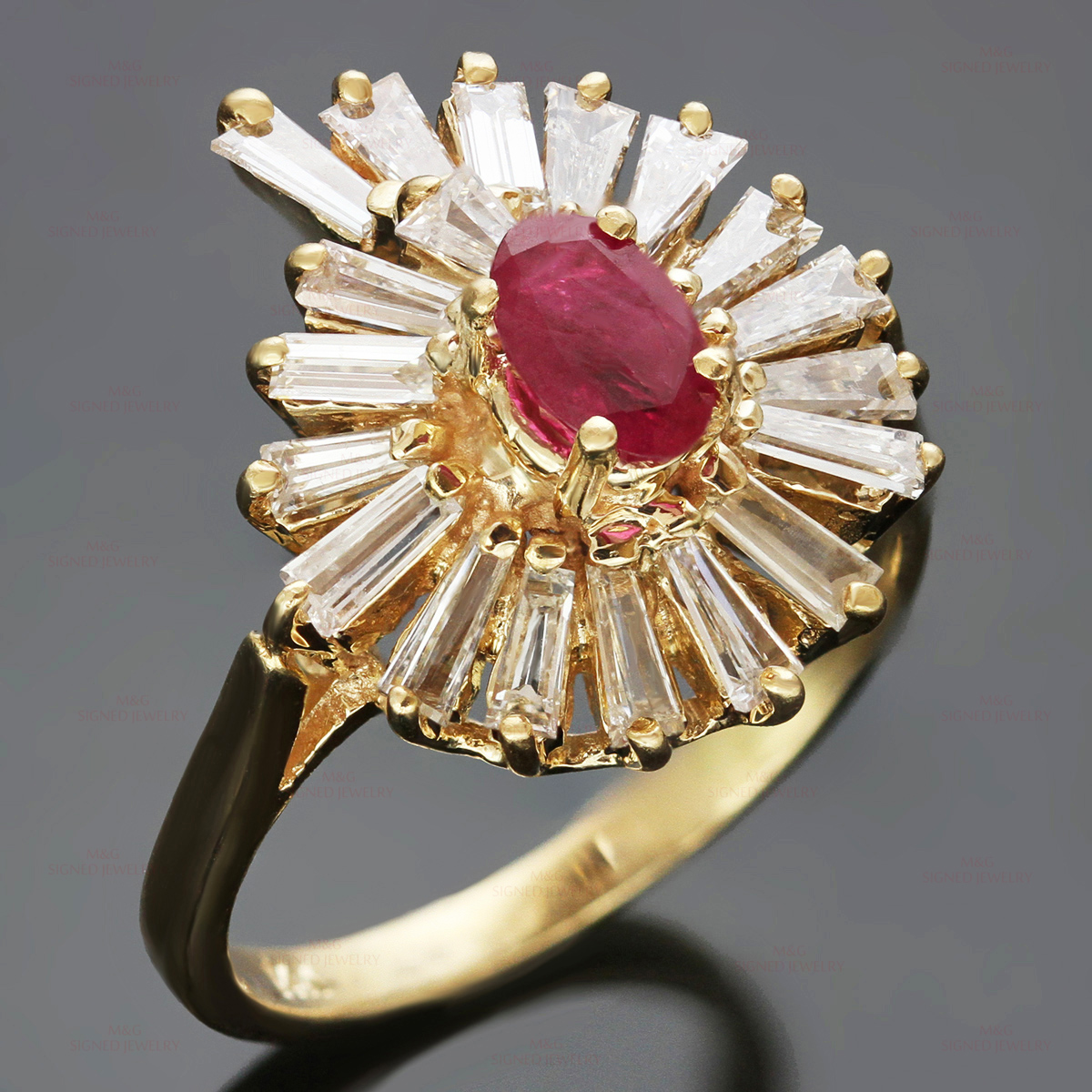 BALLERINA Ruby 14k Gold Baguette Diamond Cocktail Ring