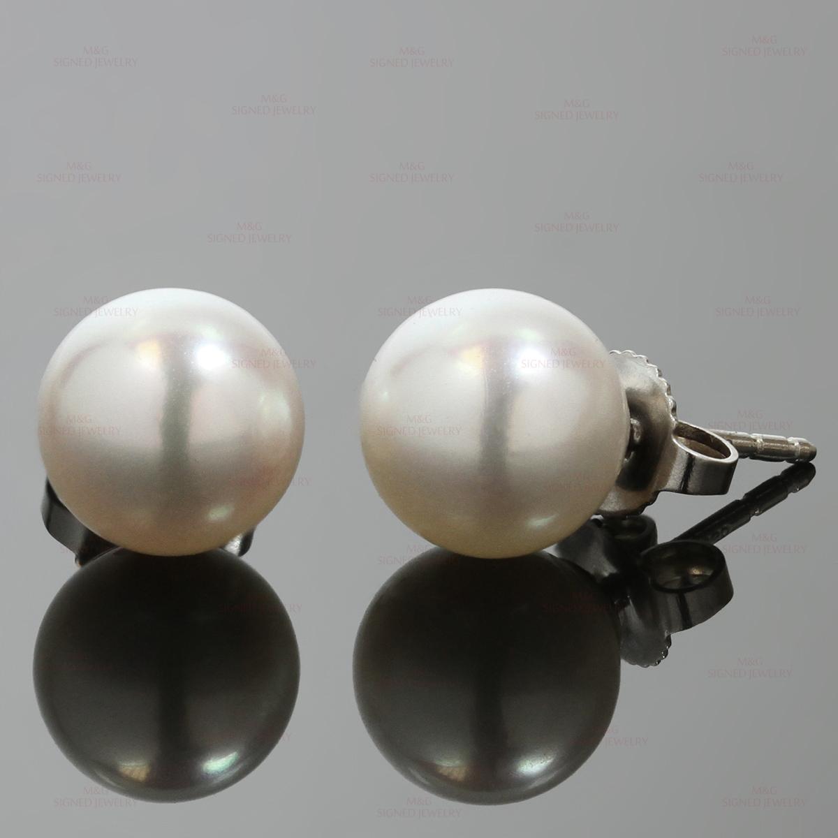 77e99586606734 TIFFANY & Co. Signature Akoya Cultured Pearl 18k White Gold Stud Earrings