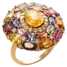 Multicolor Natural Sapphire Diamond 18k Rose Gold Ring