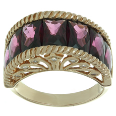 Rhodolite Garnet 14k Rose Gold Diamond Ring