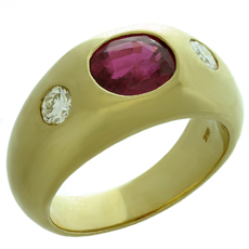 Natural Ruby Diamond 18k Yellow Gold Gypsy Ring