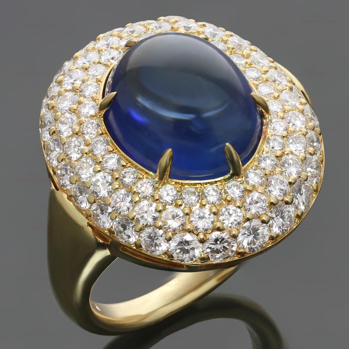 Harry Winston Diamond Blue Sapphire 18k Yellow Gold Dome Ring