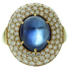 HARRY WINSTON Diamond Blue Sapphire 18k Yellow Gold Dome Ring