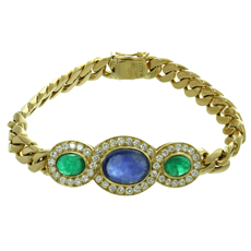 BULGARI Diamond Sapphire Emerald 18k Yellow Gold Link Bracelet