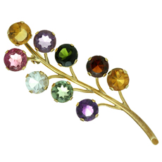 Genuine Multicolor Gemstone 18k Yellow Gold Floral Brooch