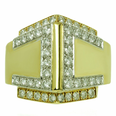 DAVID WEBB Diamond Platinum 18k Yellow Gold Ring
