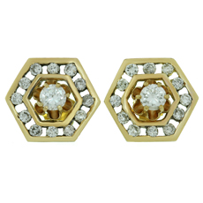Diamond 14k Yellow Gold Hexagon Earrings