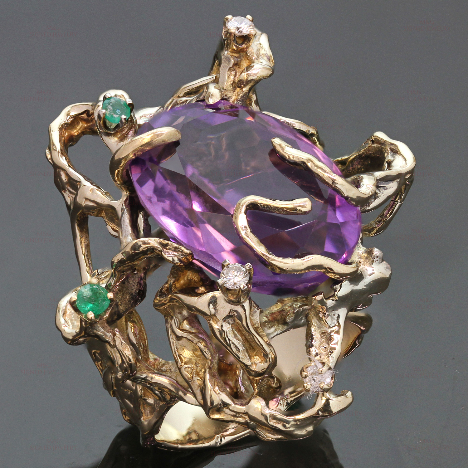 Diamond Amethyst Emerald Hand-Made 14k Yellow Gold Ring
