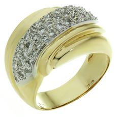 Diamond 18k Yellow & White Gold Dome Ring