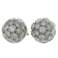 Diamond 18k White Gold Dome Button Stud Earrings