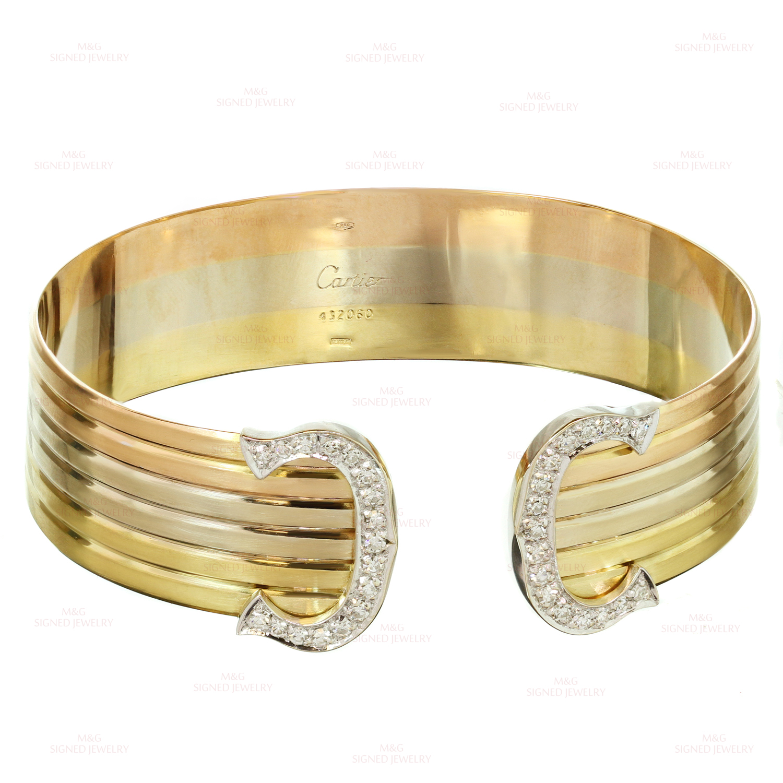 36be5b96d5e31 CARTIER C Design Tri-Color Gold Diamond Cuff Bracelet