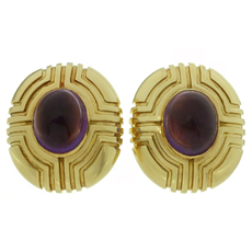 Amethyst 18k Yellow Gold Oval Clip-on Earrings