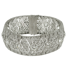 Art Deco Diamond Platinum Filigree Bracelet