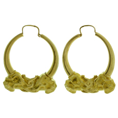 18k Yellow Gold Elephant Head Loop Earrings