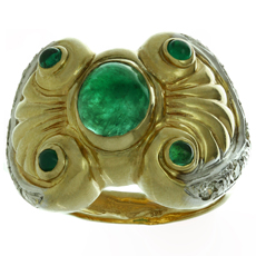 Byzantine Style Emerald Diamond 14k Yellow Gold Ring